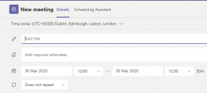 An image showing the Scheduling form for entering meeting details