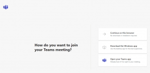 A screenshot of the webpage that opens with join choices for a Teams meeting