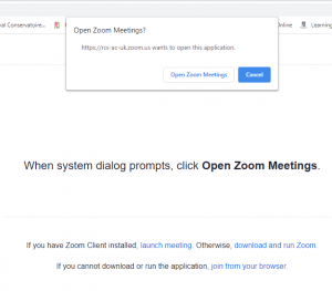 Image of screenshot of Open Zoom Meetings message